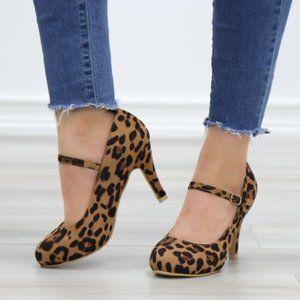 Leopard Suede Low Heel Rockabilly Pumps